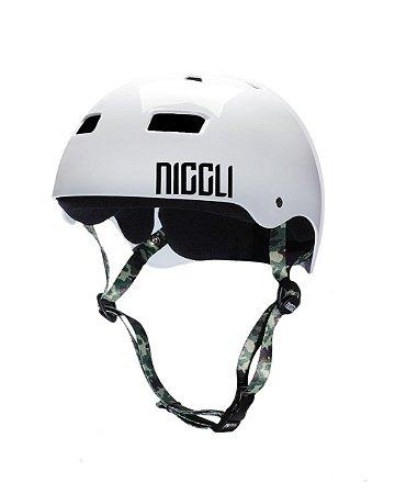 Capacete Niggli Pads Iron Profissional  - Branco Fita Camuflada