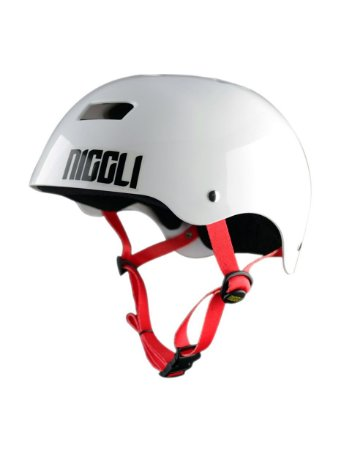 Capacete Niggli Pads Iron Profissional - Branco Brilho Fita Vermelha