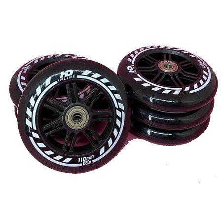 Rodas HD inline Evolution 110mm / 85a - 6 rodas com rolamentos abec-9 e espaçadores
