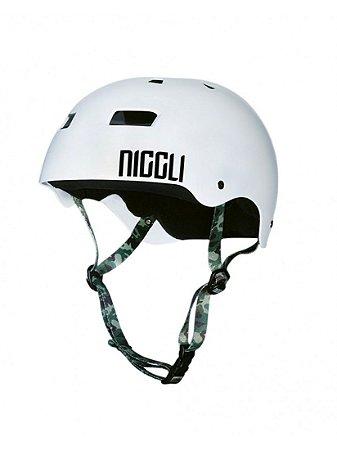 Capacete Niggli Pads Iron Pro - Branco Fosco Fita Camuflada