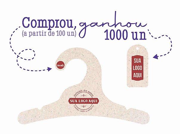 Promoção Comprou Ganhou -  Cabide Personalizado com a sua logo / Infantil / Natural / CS100  - Ganhe a Tag Natural 1000 unidades personalizado