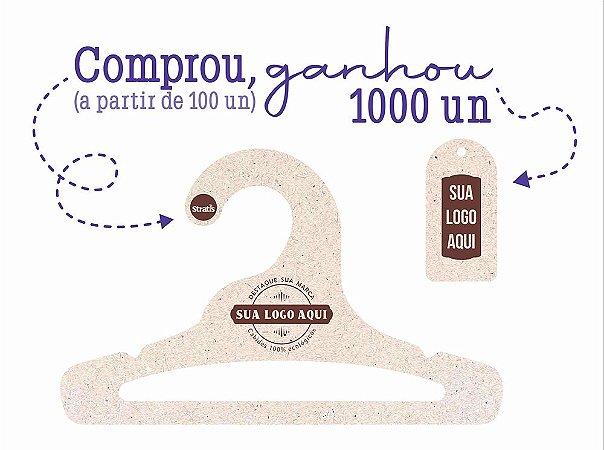 Promoção Comprou Ganhou: Cabide Personalizado com sua logo / Infantil Aberto / Natural / CS101 - Ganhe a Tag Natural 1000 unidades personalizado