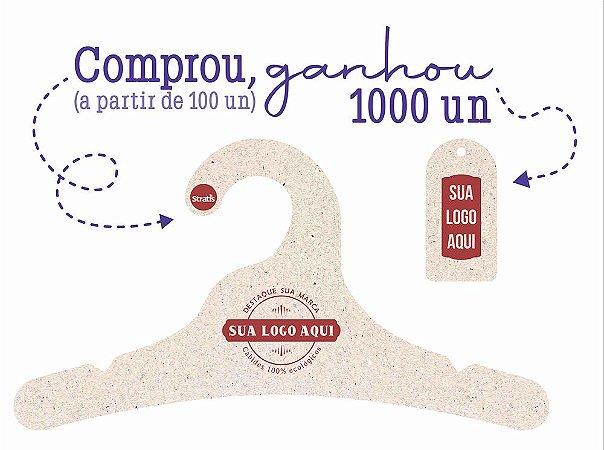 Promoção Comprou Ganhou: Cabide Personalizado com sua logo / Juvenil / Natural / CS102  Ganhe a Tag Natural 1000 unidades personalizado