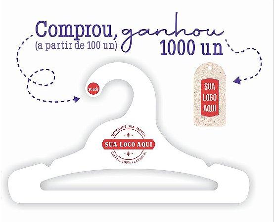 Promoção Comprou Ganhou: Cabides Personalizado com sua logo / Juvenil Aberto / Capa Branca / CS103 Ganhe a Tag Natural 1000 unidades personalizado