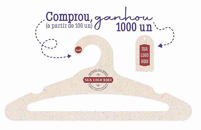 Promoção Comprou Ganhou: Cabide Personalizado com sua logo / Adulto Aberto / Natural / CS105 - Ganhe a Tag Natural 1000 unidades personalizado