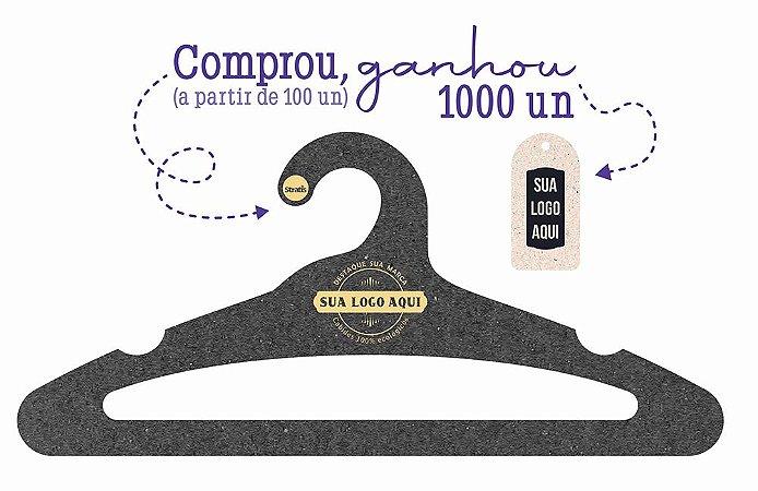 Promoção Comprou Ganhou: Cabide Personalizado com sua logo / Adulto Aberto / Preto H / CS105 -  Ganhe a Tag Natural 1000 unidades personalizado