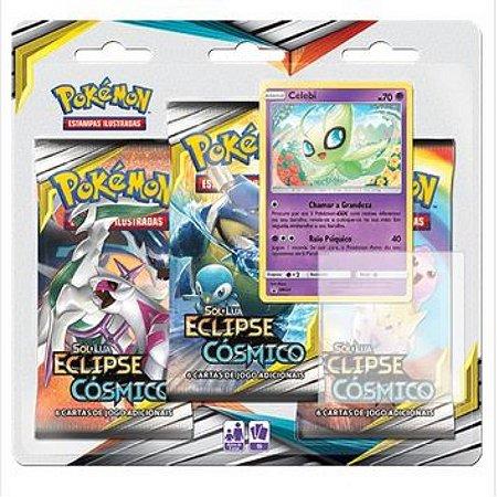 """Pokémon Sol e Lua Edição 12 - Triple Pack Eclipse Cósmico """"Celebi"""""""