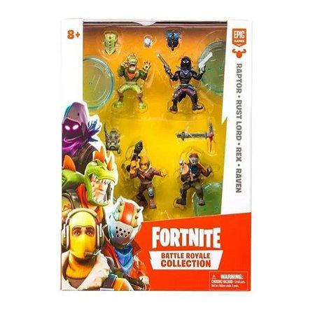 Fortnite Mini Figuras Raptor, Rust Lord, Rex e Raven