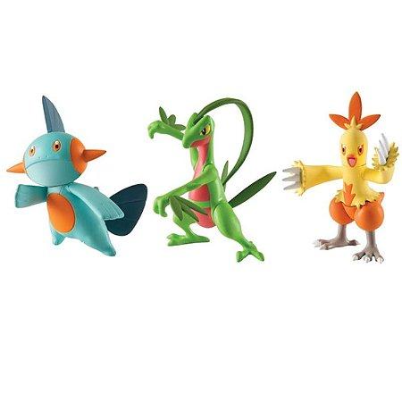 Pokémon - 3 mini figuras - Grovyle, Combusken e Marshtomp