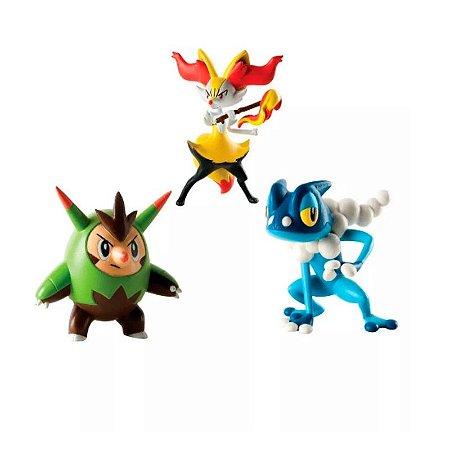 Pokémon - 3 mini figuras - Quilladin, Braixen e Frogadier