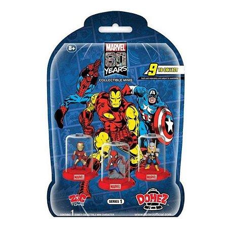 Mini figuras colecionáveis Marvel 80 anos Surpresa Domez
