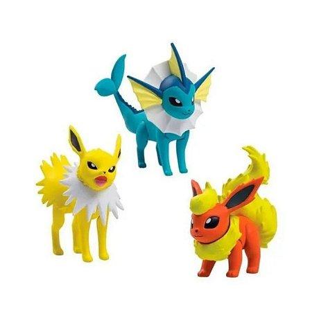 Pokémon - 3 mini figuras - Jolteon, Flareon e Vaporeon