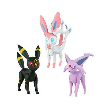 Pokémon - 3 mini figuras - Umbreon, Espeon e Sylveon