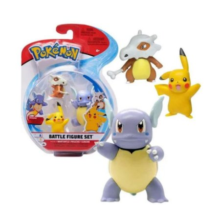 POKÉMON - 3 MINI FIGURAS - Wartortle, Pikachu e Cubone