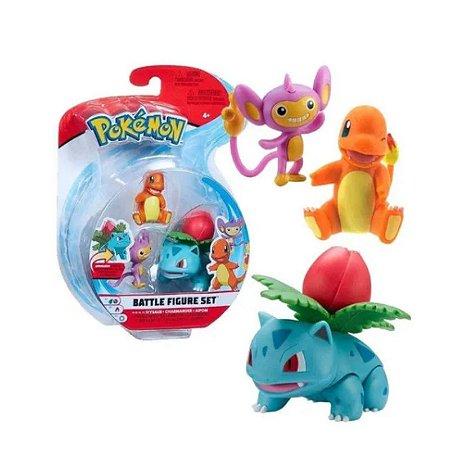 Pokémon - 3 mini figuras - Ivysaur, Charmander, Aipom