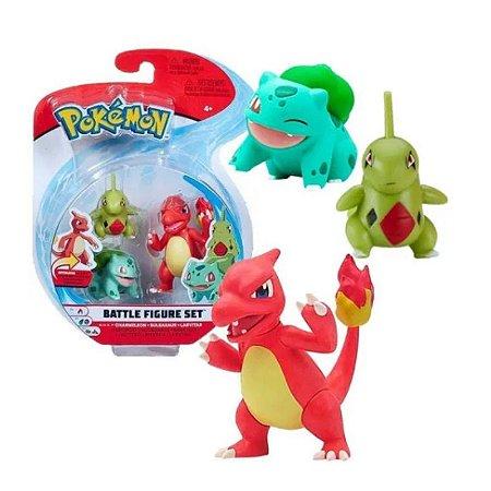Pokémon - 3 mini figuras - Charmeleon, Bulbasaur e Larvitar