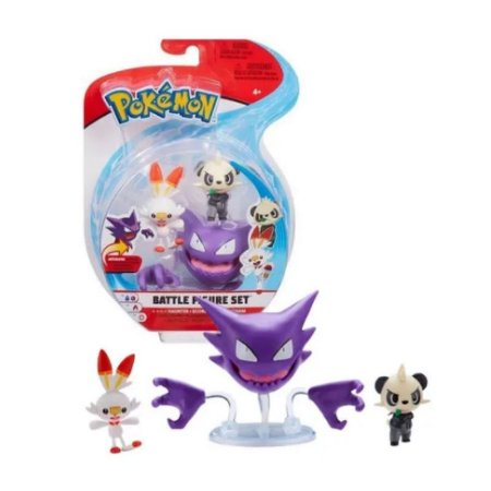 Pokémon - 3 mini figuras - Haunter, Scorbunny E Pancham
