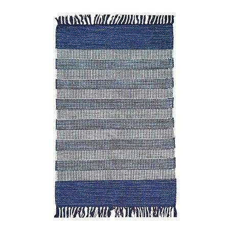 Tapete Mallani 100% Algodão Azul 1mx150cm