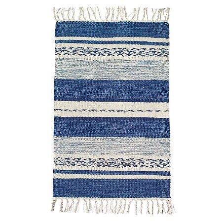 Tapete Raipur 100% Algodão Azul 1.40mx2m
