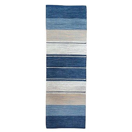 Passadeira Kilim Basar 100% Algodão Azul 60cmx180cm