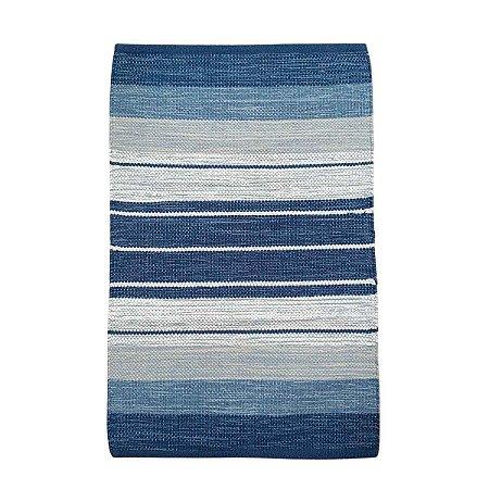 Tapete Kilim Basar 100% Algodão Azul 140cmx2m