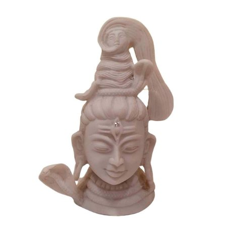 Cabeça de Shiva de Pó de Mármore Branco 13cm