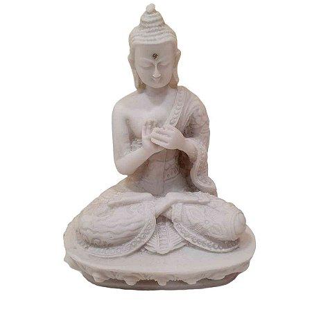 Buda Sidarta de Pó de Mármore Dharma Branco 13.5cm