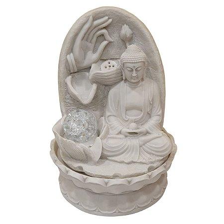 Fonte Buda Sidarta Mudras de Pó de Mármore Branca 27cm