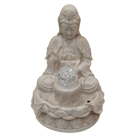 Fonte Kwan Yin de Pó de Mármore Branca 30cm