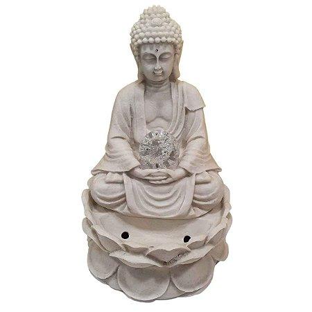 Fonte Buda Sidarta Meditação Flor de Lótus Pó de Mármore Branca 30cm