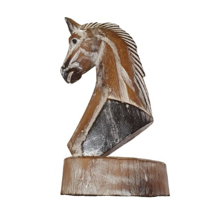 Escultura de Cavalo em Pátina Marrom 41cm