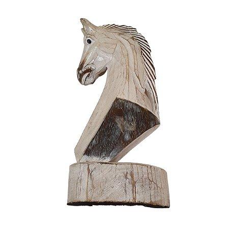 Escultura de Cavalo em Pátina Branco 41cm