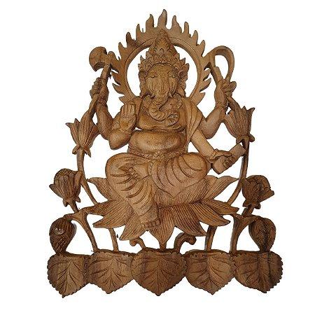 Entalhe Ganesha de Madeira Suar 38cm