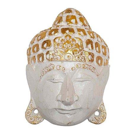Máscara Cabeça de Buda Madeira Balsa Branca com Dourado 15cm