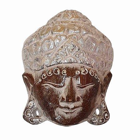 Máscara Cabeça de Buda Madeira Balsa Cinza com Prateado 20cm