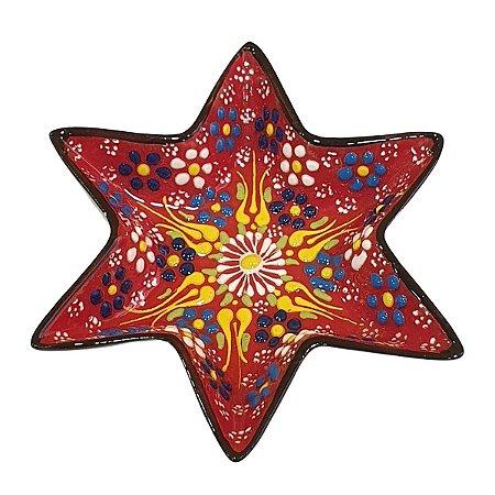 Mini Petisqueira Turca Pintada de Cerâmica Estrela Vermelha 14cm