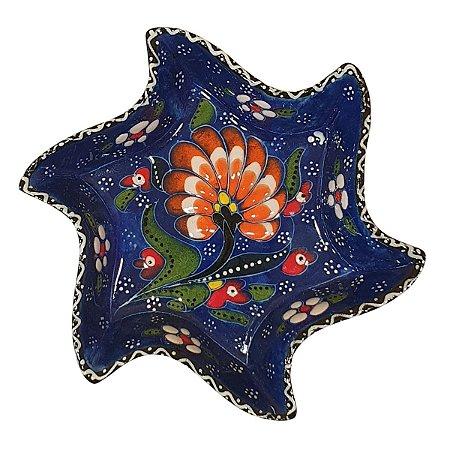 Mini Petisqueira Turca Pintada de Cerâmica Estrela Torta Azul Royal 14cm