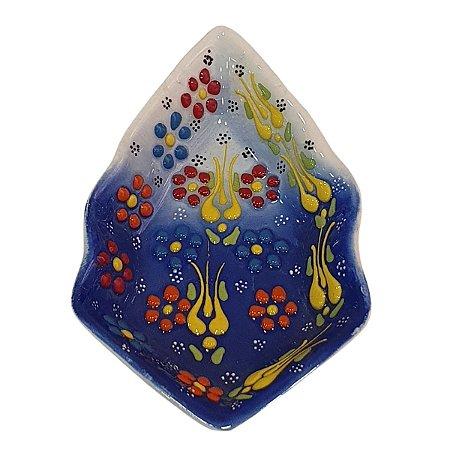 Mini Petisqueira Turca Pintada de Cerâmica Balão Azul Royal 14cm
