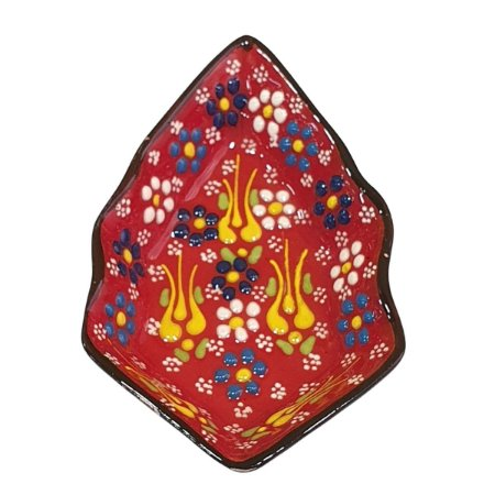 Mini Petisqueira Turca Pintada de Cerâmica Balão Vermelha 14cm