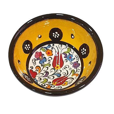 Bowl Turco Pintado de Cerâmica Amarelo Liso 8cm (Pinturas Diversas)