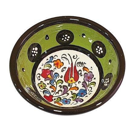 Bowl Turco Pintado de Cerâmica Verde Liso 8cm (Pinturas Diversas)