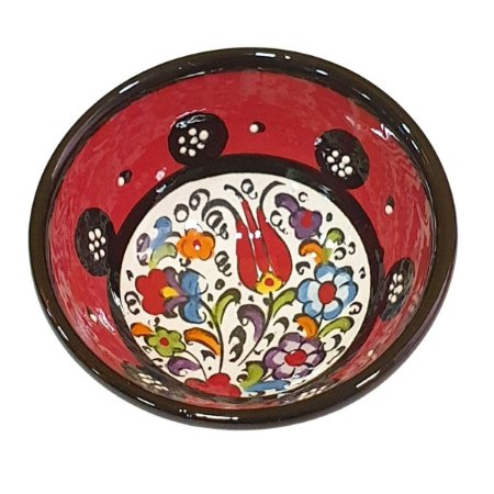 Bowl Turco Pintado de Cerâmica Vermelho Liso 8cm (Pinturas Diversas)