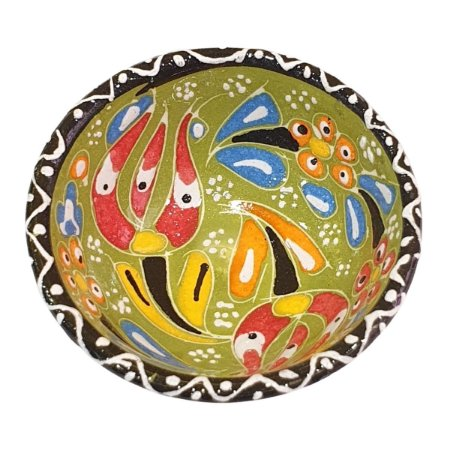 Bowl Turco Pintado de Cerâmica Verde Estampado 8cm (Pinturas Diversas)