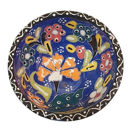 Bowl Turco Pintado de Cerâmica Azul Royal Estampado 8cm (Pinturas Diversas)