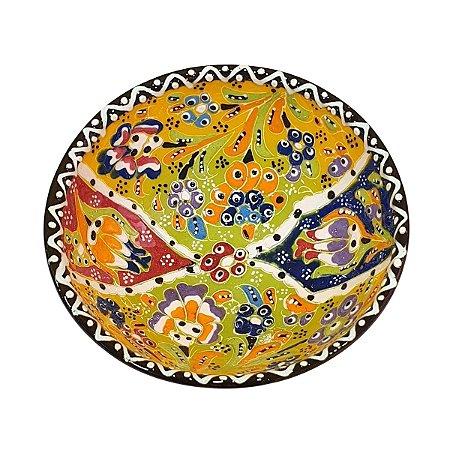 Bowl Turco Pintado de Cerâmica Amarelo Estampado 12cm (Pinturas Diversas)