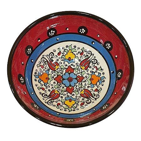 Bowl Turco Pintado de Cerâmica Vermelho Liso 16cm (Pinturas Diversas)