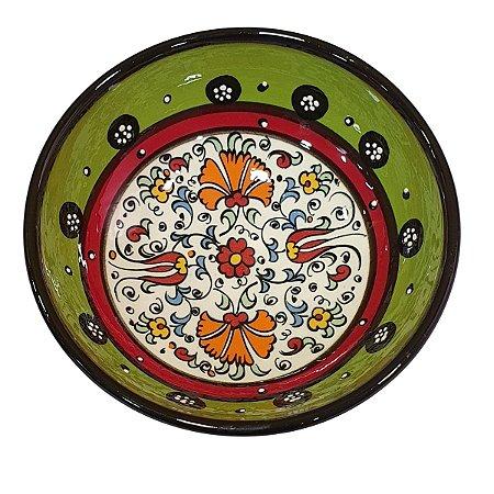 Bowl Turco Pintado de Cerâmica Verde Liso 16cm (Pinturas Diversas)
