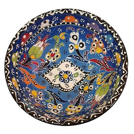 Bowl Turco Pintado de Cerâmica Azul Royal Estampado 16cm (Pinturas Diversas)