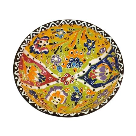 Bowl Turco Pintado de Cerâmica Amarelo Estampado 16cm (Pinturas Diversas)