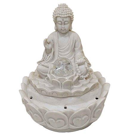 Fonte Buda Sidarta Meditação Flor de Lótus Pó de Mármore Branca 26cm